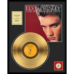 "LP placcato dorato - Elvis Presley ""The 50 Greatest Hits"""
