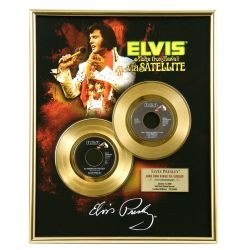 "LP placcato dorato - Elvis Presley ""Via Satellite"""