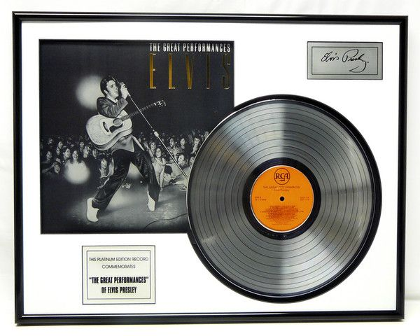 "LP placcato dorato - Elvis Presley ""Great Perfomances"""