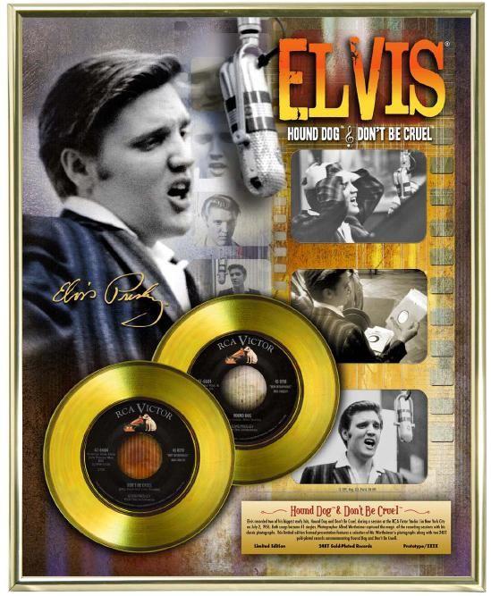 """LP placcato dorato - Elvis Presley """"Hound Dog - Don't Be Cruel"""""""