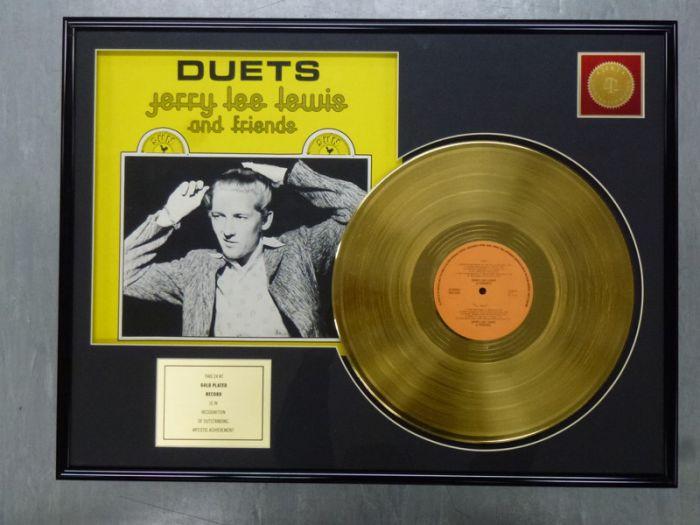"LP placcato dorato - JERRY LEE LEWIS ""DUETS"""